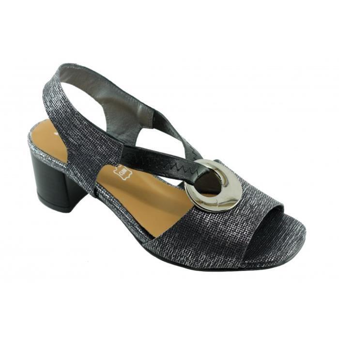 Janisse – Sandale avec un anneau métal, bride élastiqué croisé talon stable chaussures Femme marques Angelina cuir noir