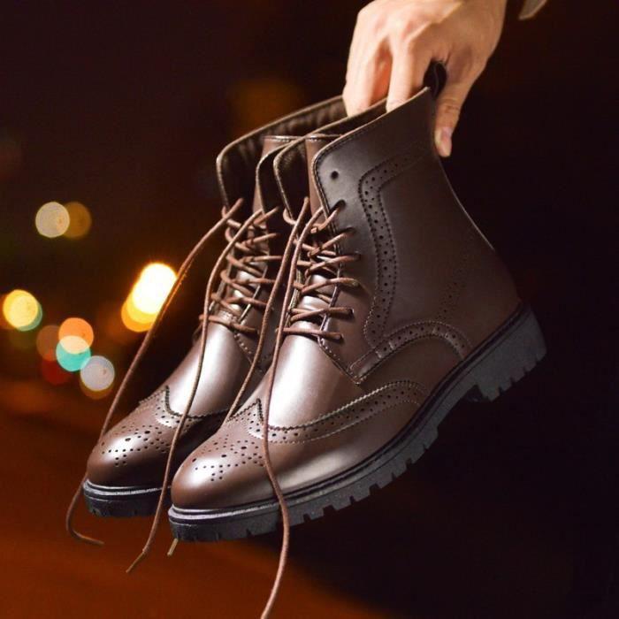 Botte Homme Haut-top Brogue hiver Vintage noir taille44
