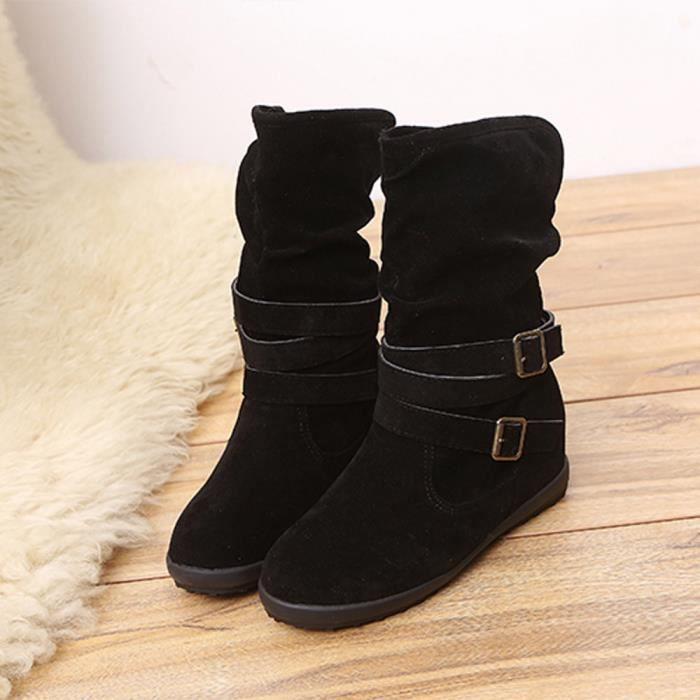 regard détaillé a7e5f 2c85a Mesdames Femmes Wedge Boucle basse Biker cheville Bottines plates Garniture  Chaussures Noir