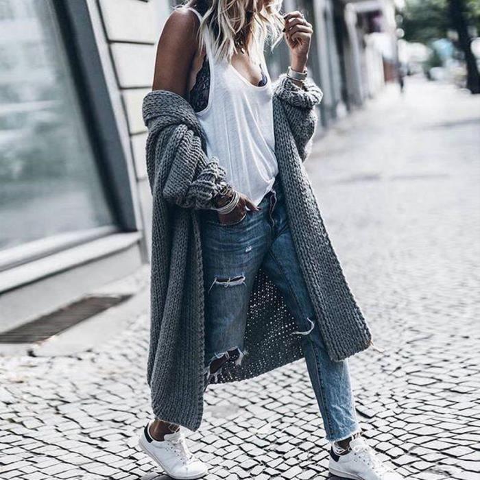 593a279d05a Gilet long en laine femme - Achat   Vente pas cher