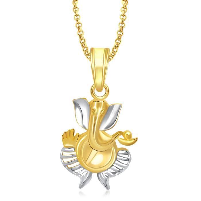 Femmes Ganesha Ganpati Dieu Pendentif avec Pour, plaqué or en Amérique diamant Cz Gp Bijoux LWRD0