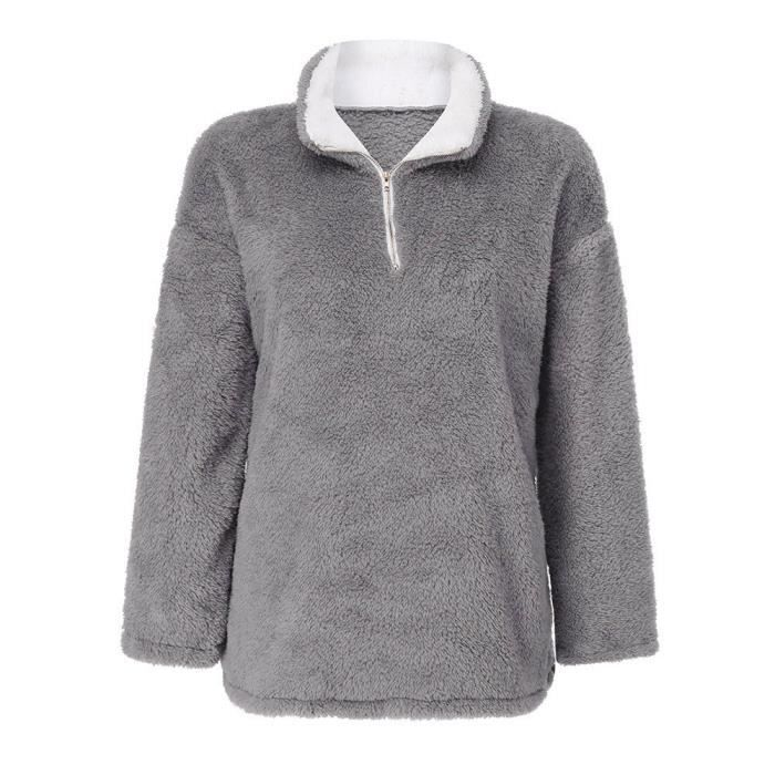 Sweat Zy13176 Femmes Outwear Hiver Casual Up Fluffy Zip Overs Solide Chaud q6CBF