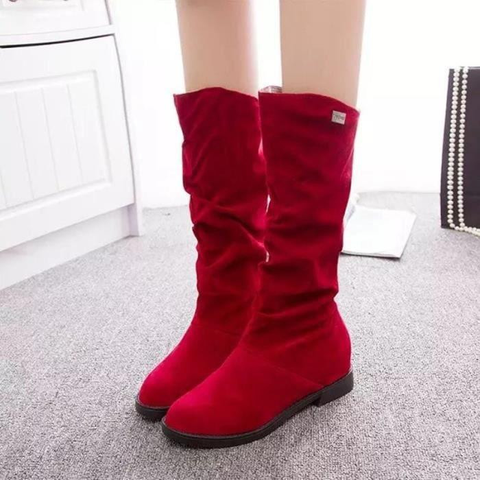 2017 automne et hiver rude avec de longues bottes femmes femmes antidérapantes & # 39; s bottes loisir bottes à talons plats femmes