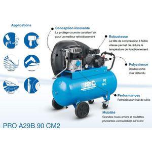 COMPRESSEUR ABAC – Compresseur d'air PRO 2CV 90 litres 15,3 m3