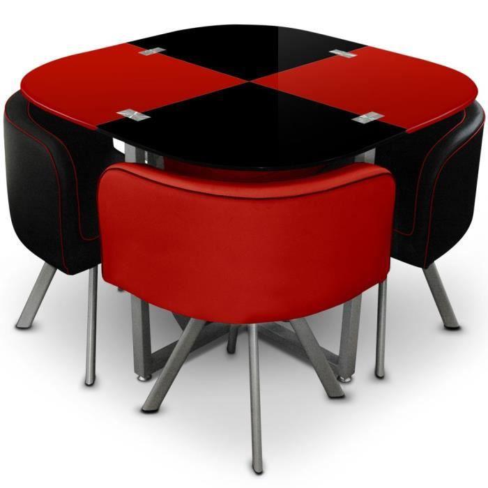 Ensemble salle à manger table et 4 chaises en damier noir et ...