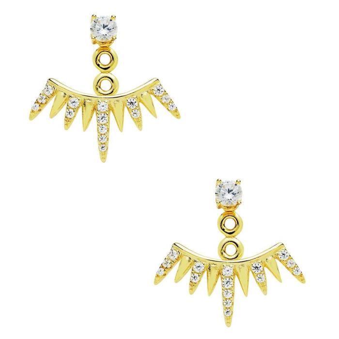 Womens Cz Spiked Jacket Earrings UWLCD