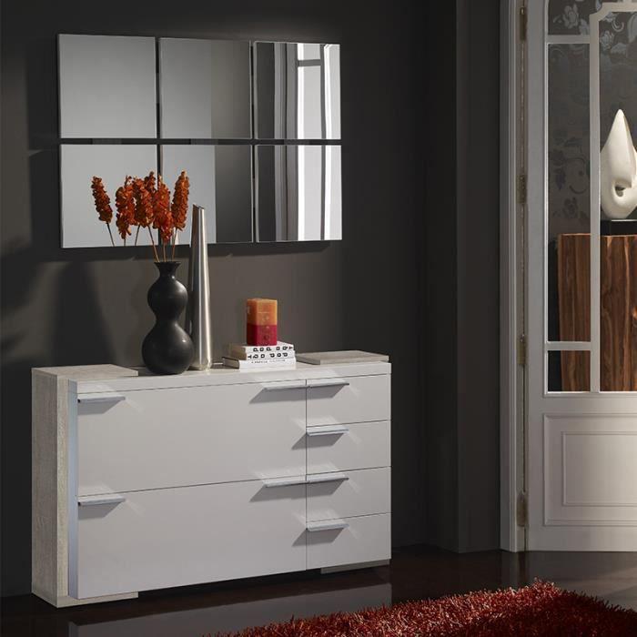 Meuble chaussures et miroir moderne blanc couleur bois clair ARUCAS ...