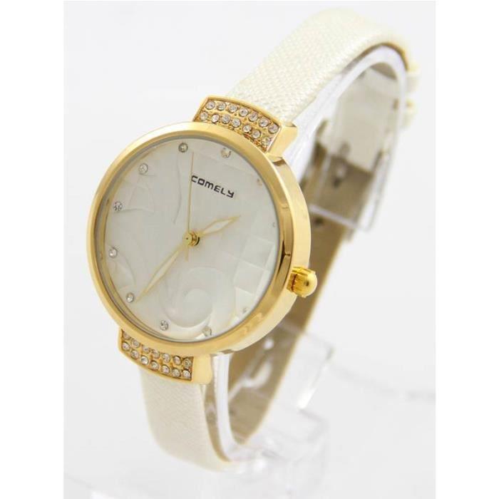 Montre Femme Arabesque Cuir Blanc COMELY 1324 , - Achat vente montre ... e9ae6c7e1c7