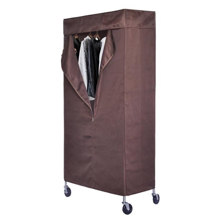 portant armoire dressing en tissu v tements penderie avec housse 4 roues roulettes 3 plateaux et. Black Bedroom Furniture Sets. Home Design Ideas