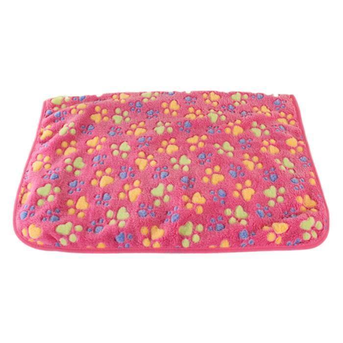 40 X 60 Cm Mignon Floral Pet Sommeil Chaud Patte Imprimer Chien Chat Tapis Chiot Doux Couverture Lits Rose