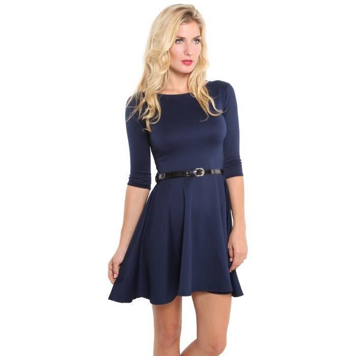 robe patineuse ceinture manches 3 4 bleu marine bleu marine achat vente robe cdiscount. Black Bedroom Furniture Sets. Home Design Ideas
