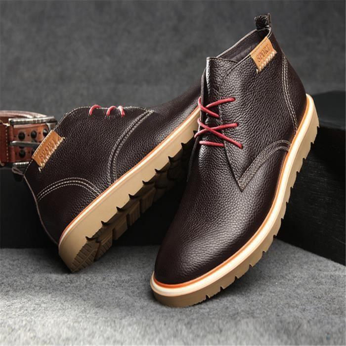 Chaussure Homme haut-dessus Bottines cuir