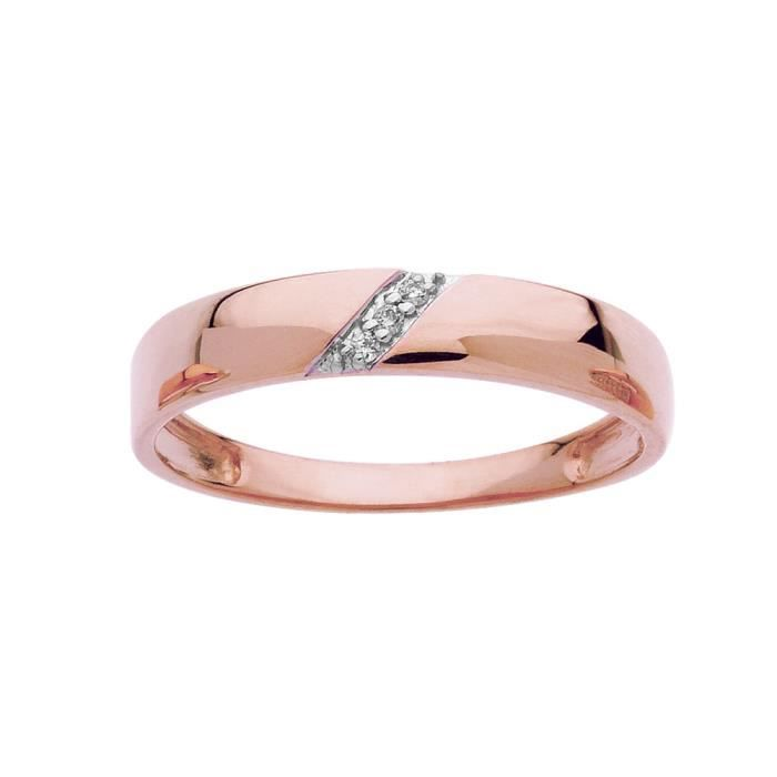 DIAMANTLY Bague diamants 0,021ct or rose or 750/1000