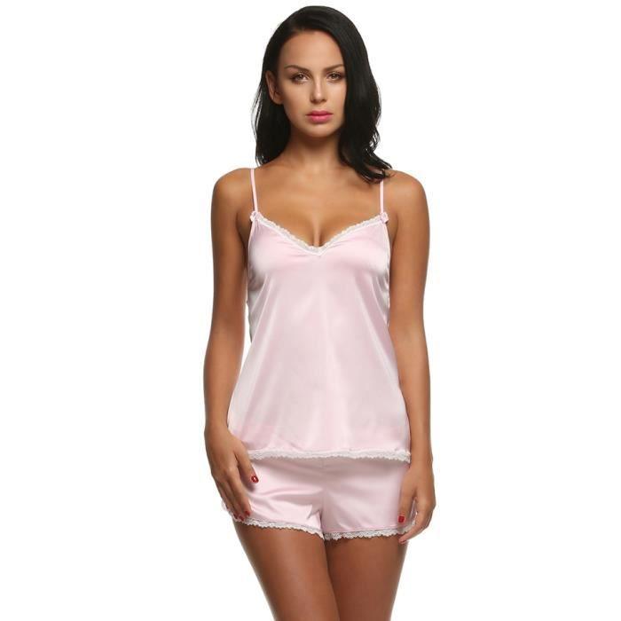 plus récent 92822 ed836 Chemise de nuit femmes vêtements de nuit été dentelle Satin ...