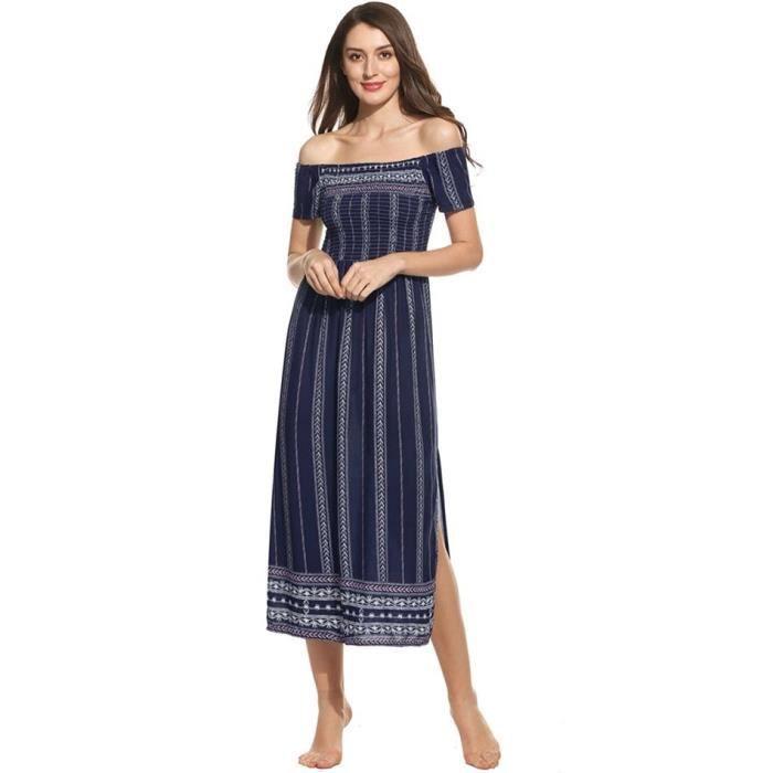 robe Femmes Casual Print Off épaule