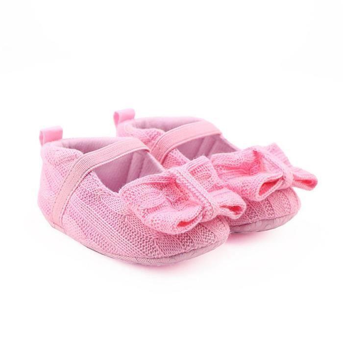 WQQ0926348 douces dérapant tricotage anti ROSE berceau Bow Frankmall®Bébé chaussures filles espadrilles semelles de wq7Za6px0