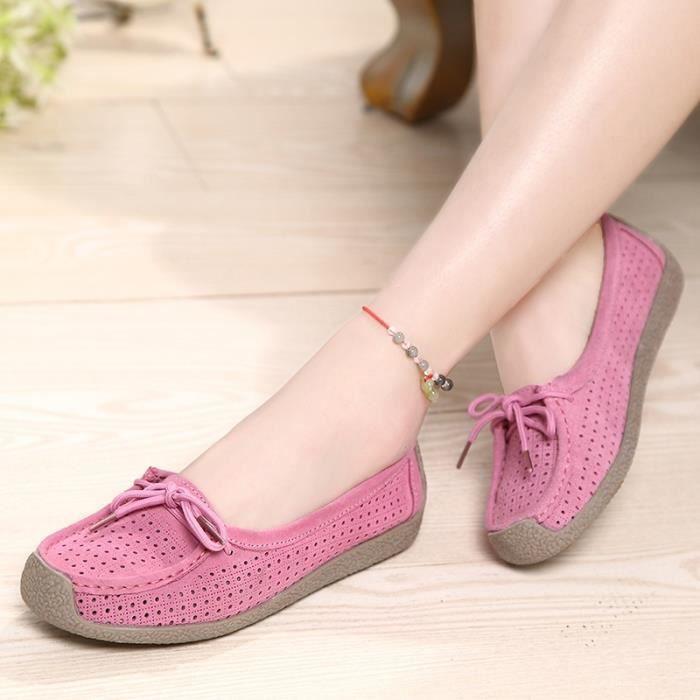 Mode Femmes en cuir véritable mère Chaussures Mocassins femmes Soft Loisirs Flats Femme Driving Chaussures plates,rose,6