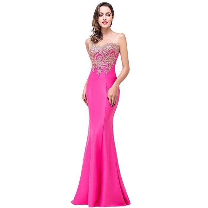 Robe de soiree rose fluo