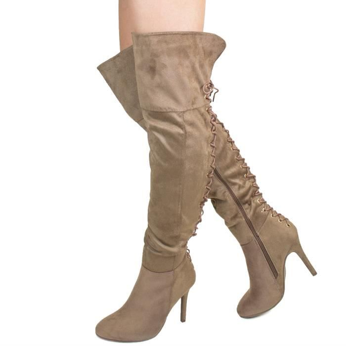 Womens Sexy And Gorgeous Back Detail Design Over The Knee And Thigh-high Heel Fashion Boots E3FV4 Taille-40 F6RlC