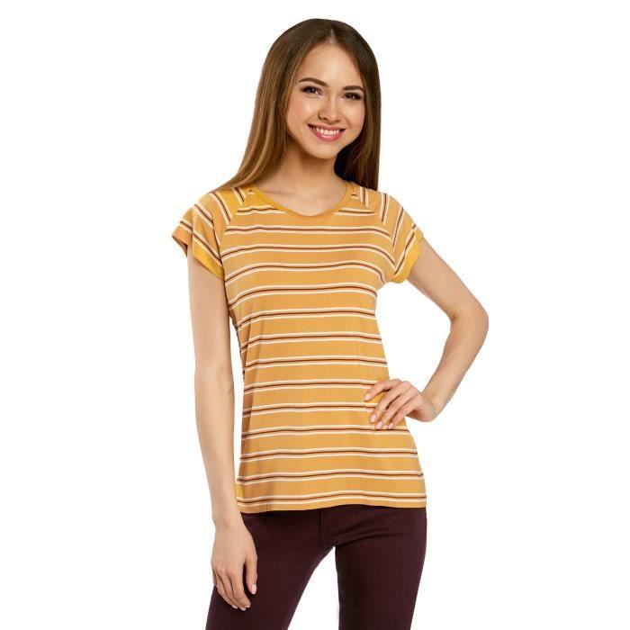 Achat Taille Jaune En Ample T 1VGVMW shirt Jaune 34 Femme Viscose xwqUFCFv