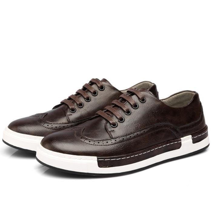 JOZSI Chaussures Hommes Cuir été hiver Respirant Homme chaussure de ville FXG-XZ205Marron38