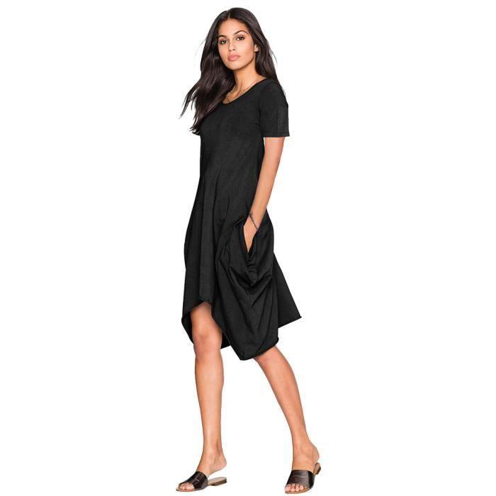 4752f625e9c Femmes Irrégulière Robe Ete Courte Manches Trapèze Lache Liquette Uni  Original Fluide Tunique skirt Casual Avec Poche jupe Noir