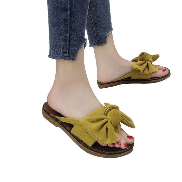 Solide Mode Sandales Slipper Plage Noeud Femmes Plat Jaune Papillon 1840 Chaussures xiezi De Talon Couleur RpqwqdnE
