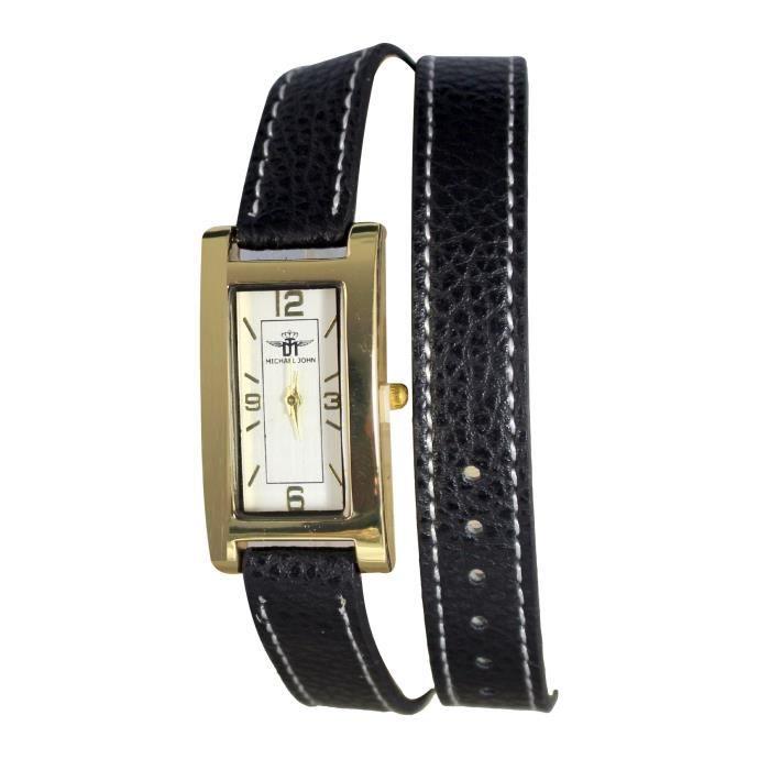 vente officielle mode attrayante prix de liquidation montre bracelet femme double tour cuir marron cadran cuivré michael john