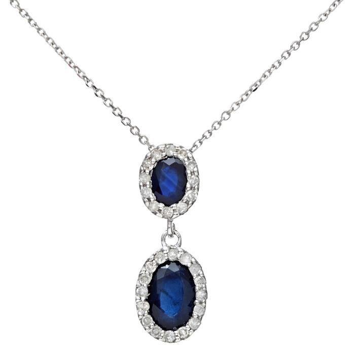 Revoni - Pendentif ovale double en or blanc 18 carats, saphirs et diamants 0,85 carat, chaîne 40 cm