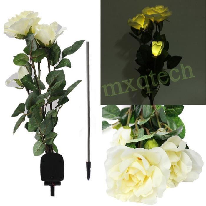 Lavent Lampe Pour Allee De Jardin 3led En Forme De Fleur Blanc