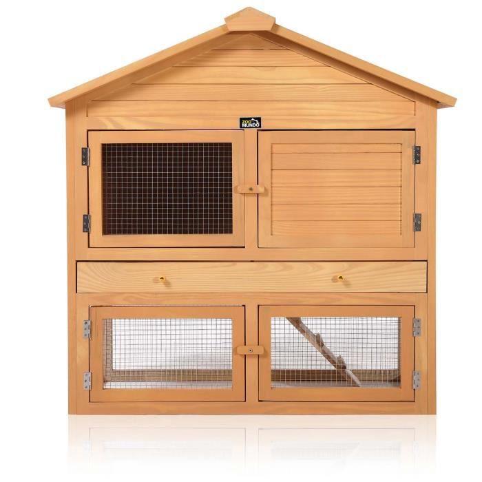 CLAPIER zoomundo Clapier Cage à Lapin avec 4 Portes et enc
