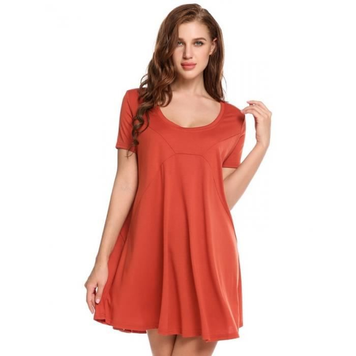 robe Femme Casual manches courtes encolure solide O pull