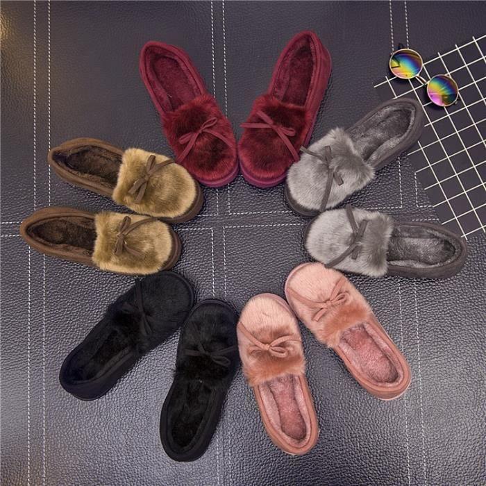 chaussures pantoufles en coton d'hiver semelles de coton arc chaud pantoufles épais dames mode pantoufles en,marron,37