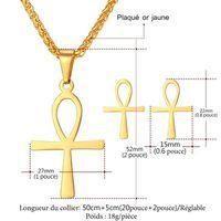 U7 Parure 2 Pièces Ensemble Collier Pendentif Boucles dOreilles Plaqué Or Ankh Égyptien Crosss Key of The Nile