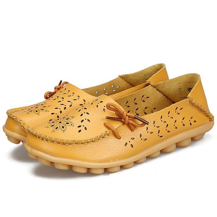 Moccasins Femme Grands Enfants Été Meilleure Qualité Mode Cuir Véritable Sneakers Respirant Chaussure Plat Simples Filles