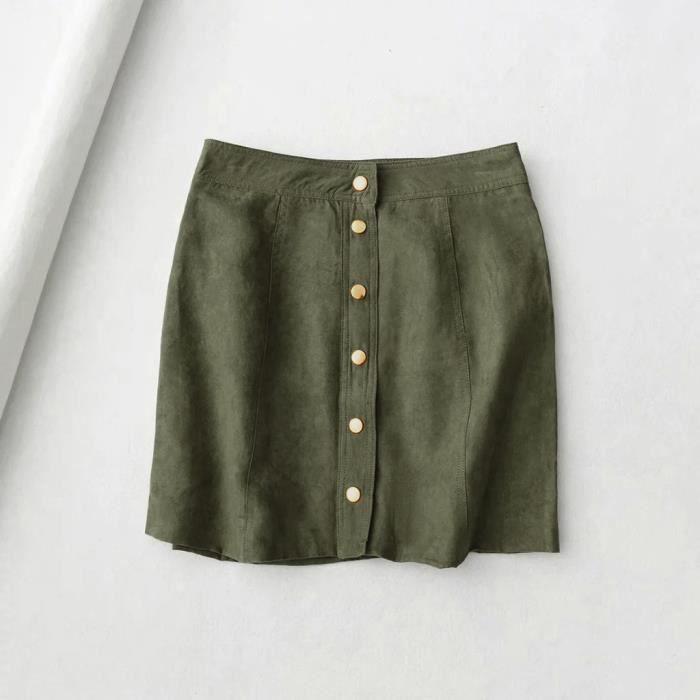 Mini Courte Jupe Plaine Vintage ligne Haute Taille Suédine A Solides Bouton Femmes vfqPzxwaP
