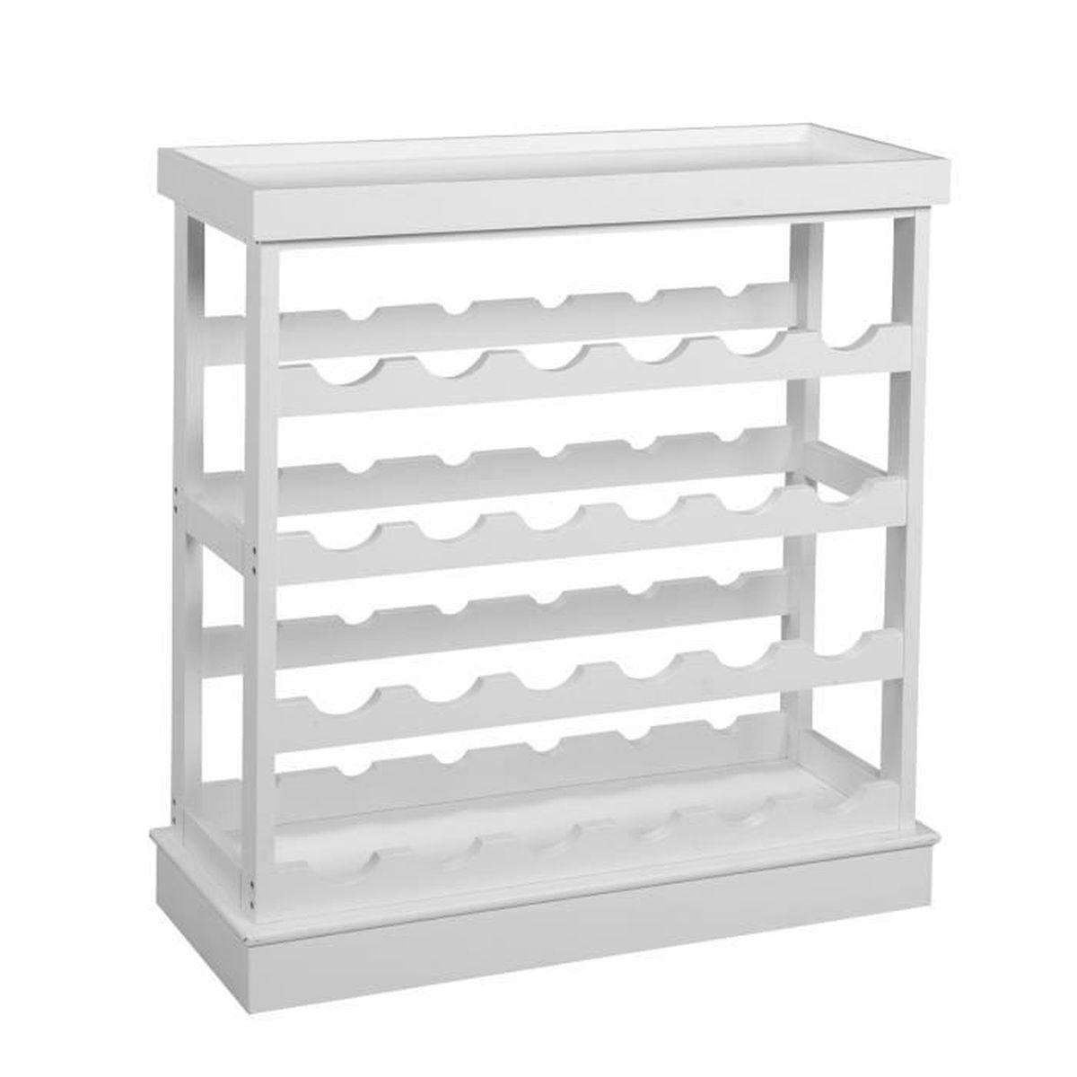 wine range bouteille en pin laqué blanc - achat / vente meuble range