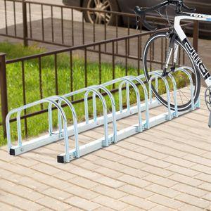 PORTE-VELO Râtelier pour 5 vélos acier galvanisé argent neuf