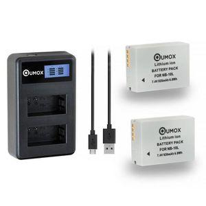 BATTERIE APPAREIL PHOTO 2x QUMOX NB-10L 920mAh batterie + LCD chargeur pou