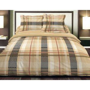 parure drap plat 180x290 cm drap housse 100x200 cm 1 taie d oreiller chalet beige achat. Black Bedroom Furniture Sets. Home Design Ideas