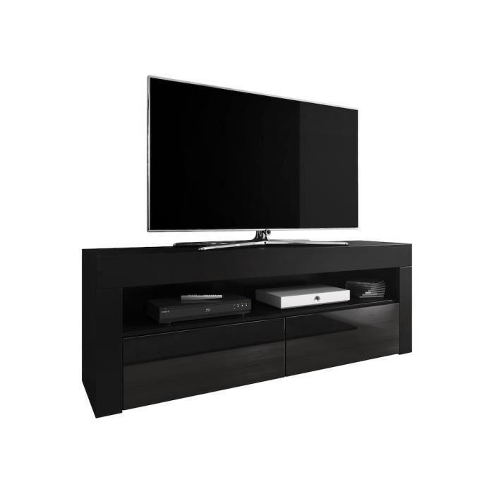 LUNA Meuble TV contemporain décor Corps noir Fa§ade noire haute