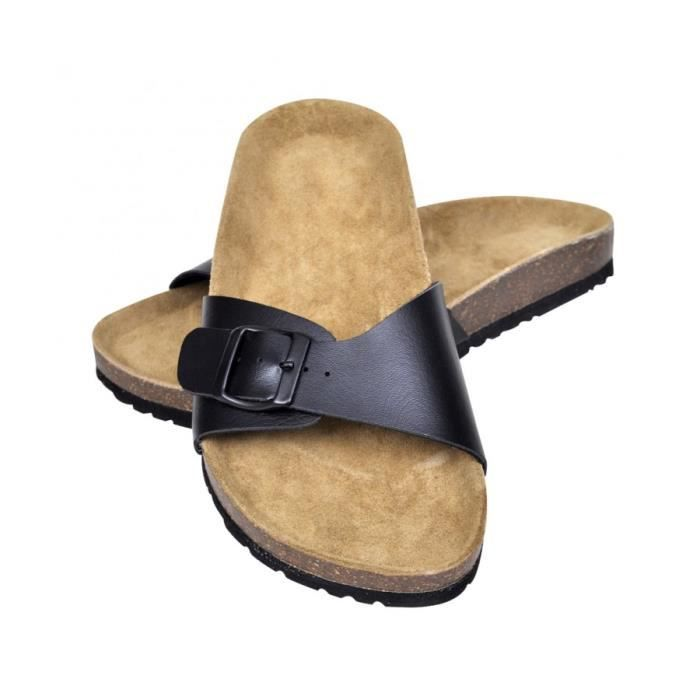 Superbe Sandales unisexes noires en liège bio à fermeture à boucle taille 41 -