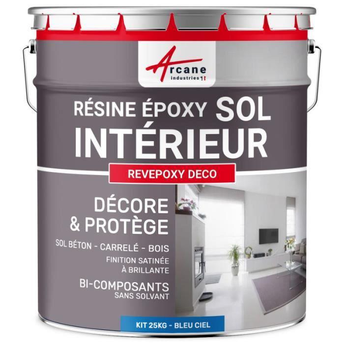 Revepoxy Deco Peinture Epoxy Decorative Sol Salon Laque Cuisine Salle De Bains Bleu Ciel Ral 5015 Kit 25kg Jusqu A 70m Pour