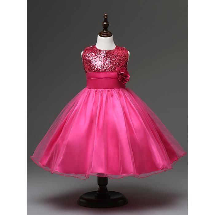 Gsch petites robes à fleurs rose paillettes o-neck bébé anniversaire robes tutu chirstening infant robe de soirée