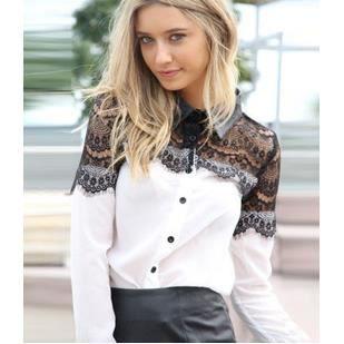 mode femmes casual noir dentelle mousseline de soie splicing manche longue chemise chemisier. Black Bedroom Furniture Sets. Home Design Ideas