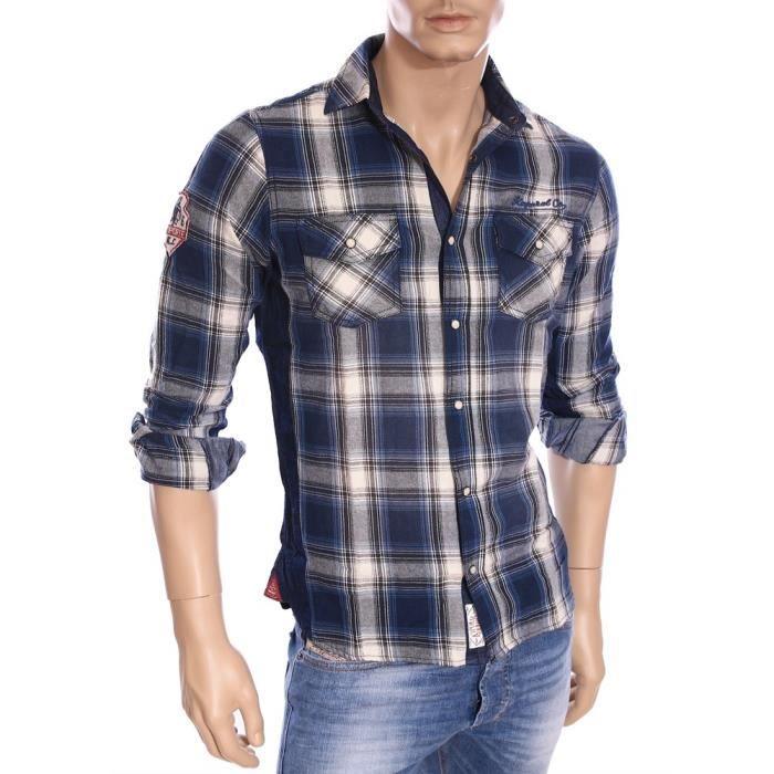 Kaporal Premium - Chemise à carreaux bleus homme Zohan hiver 2016 Bleu -  Achat   Vente chemise - chemisette - Soldes  dès le 9 janvier ! Cdiscount e9575e09a5ab