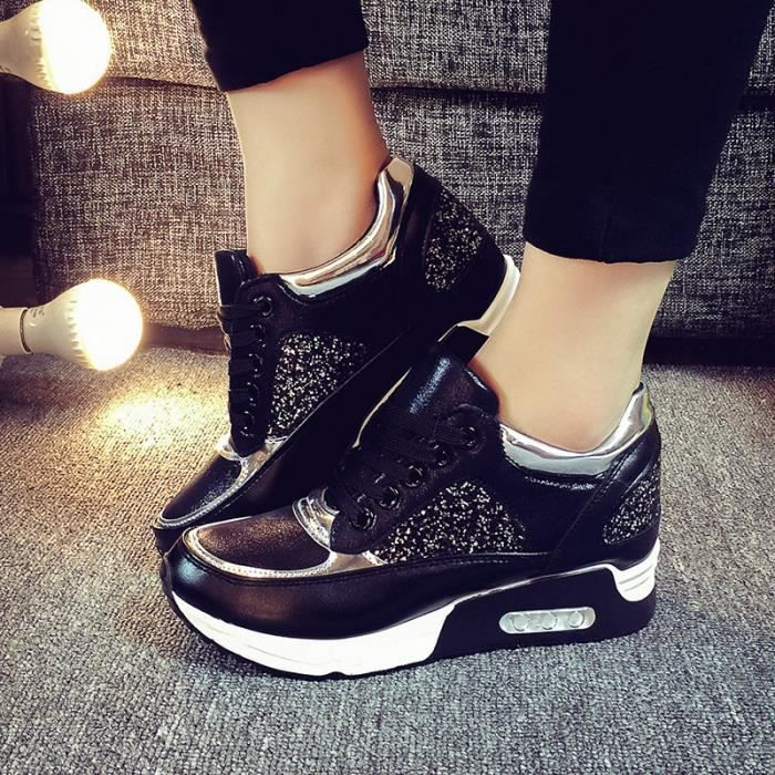 chaussure de running femme fille sneakers basket sport noir achat vente chaussure toning. Black Bedroom Furniture Sets. Home Design Ideas