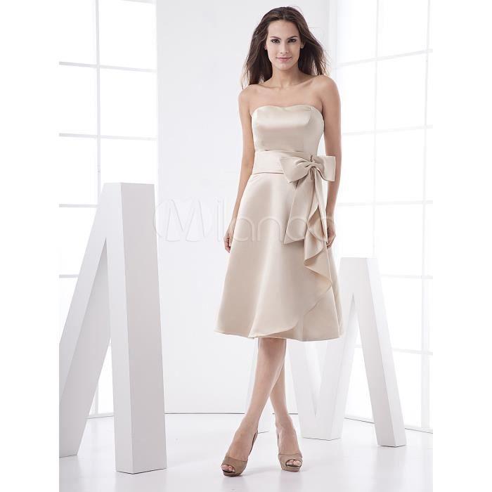 302016a02f36 ROBE DE CÉRÉMONIE Robe demoiselle d honneur champagne avec ceinture