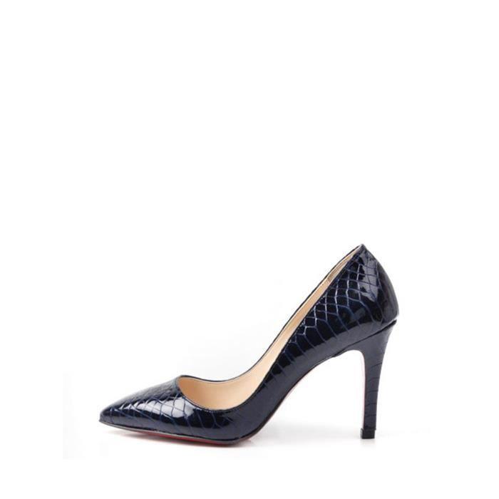 Escarpin Femmes Pumps serpent peau Alike Escarpins Toe Pointu Chaussures de Stiletto Lady 3154738