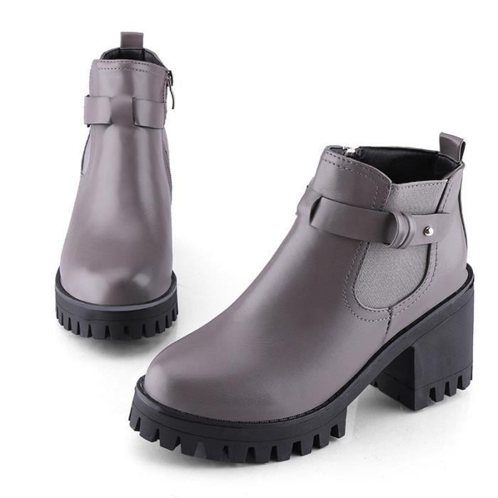 plate-forme en cuir véritable augmenté épais extrêmes femmes haut talon bottines chaussures solides de la marque de travail de